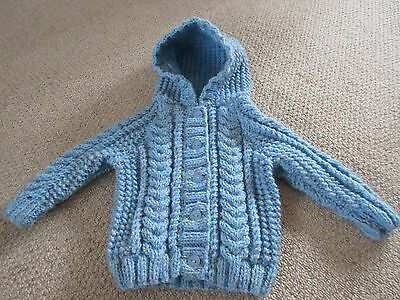 Gorgeous Brand New Hand Knitted Baby Aran Cardigan with Hood - 3 -6 months