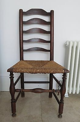Vintage/Antique 19th Century English Oak Country Ladder Back Chair
