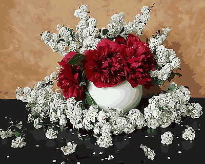 Framed Painting by Number kit A Vase of Flowers Red and White Ikebana DIY MB7056