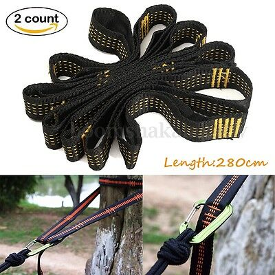 2x Hammock Straps Tree Strong Nylon Heavy Duty Hanging Belt Rope Camping Outdoor