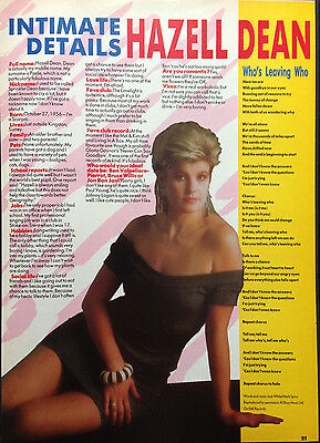 HAZELL DEAN - ORIGINAL 1 PAGE INTERVIEW ARTICLE FROM 1980s No1 MAGAZINE