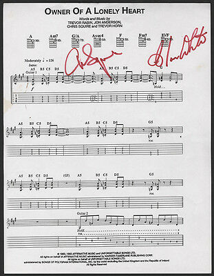 YES Signed Sheet Music 'Owner Of A Lonely Heart' Chris Squire Alan White reprint