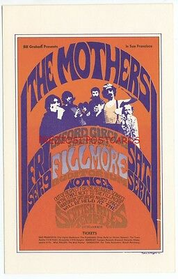 BG-27 1966 FILLMORE AUDITORIUM Postcard THE MOTHERS OF INVENTION, Oxford Circle