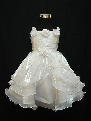 New Girls White Christening Flower Girl Party Dress 3-6 Months