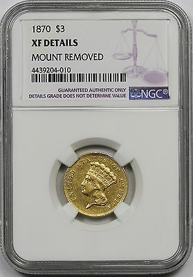 1870 Indian Princess Head Three Dollar Gold Piece $3 XF Details NGC