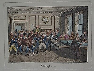 George CRUIKSHANK 1825 Original coloured ETCHING Navel Law Horse fine condition