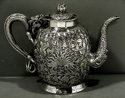Chinese Export Silver Teapot        c1870      DRAGON HANDLE & SPOUT