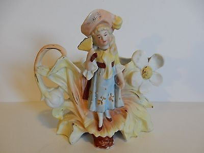 Very Old German Bisque Planter-Girl Holding Fan