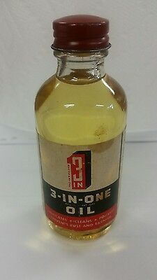 Vintage 3-In-One Oil Glass Bottle With Lid Full Sealed 2 Oz Boyle Midway 3 In 1