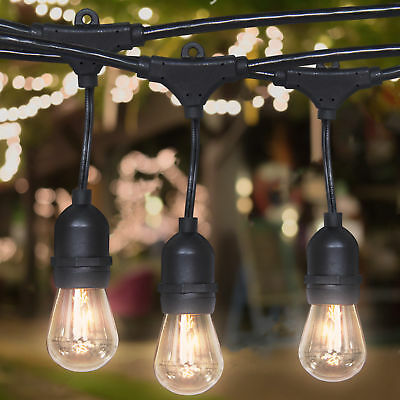 Commercial Weatherproof 48' Outdoor String Lights 16 Bulbs Party Patio Lights