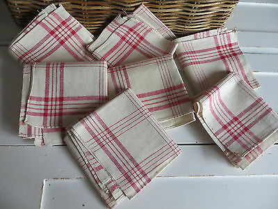Unused 7 Two German  Towels Napkins Dish Cloth Finest Linen Red Strip Excellent