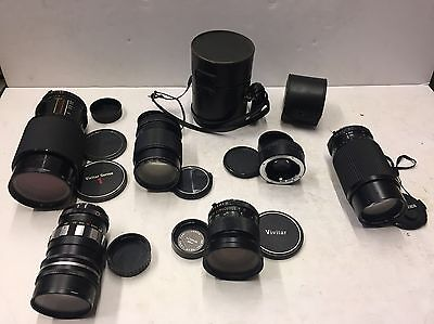 LOT of 6 SIX VINTAGE Camera LENSES W/ Filters MINOLTA M MD Vivitar 2 CASES Film