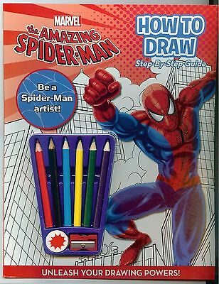 Marvel Spider Man How To Draw Book & Pencil Crayons Kit Children Kids Fun Learn