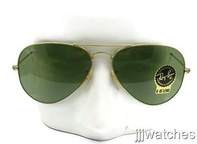 bab80a8e65 New Rayban Aviator Large Green G-15 Lens Gold Sunglasses RB3025 001 14 58