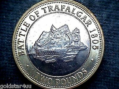 "£2 Bi-Metal Gibraltar  Coin  2010 Battle Of Trafalgar UNC Low Mintage"",Scarce"""