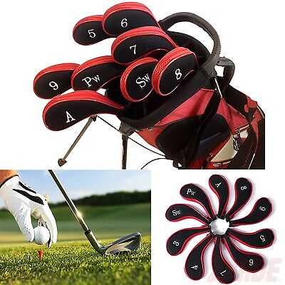Red Neoprene Long Sleeve Zipper Golf Club Iron Putter Head Cover Sock Skin 10 pc