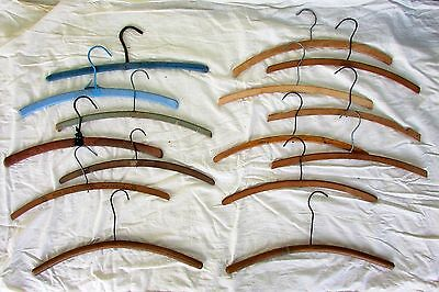 18 Vtg Flat Wooden Wood Clothes Coat Suit Hangers Bent Advertising DYI Crafts