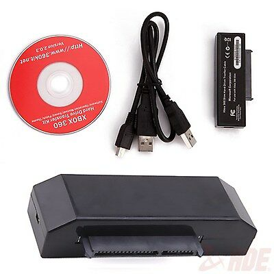USB Hard Drive Data Transfer Cable HDD Cord Kit for Xbox 360 Slim to PC Black
