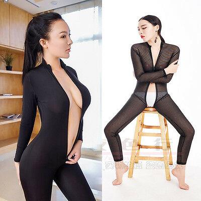 Women Sexy Playsuit Catsuit Zipper Slim Fit Bodycon Bodysuit Crotchless Sheer