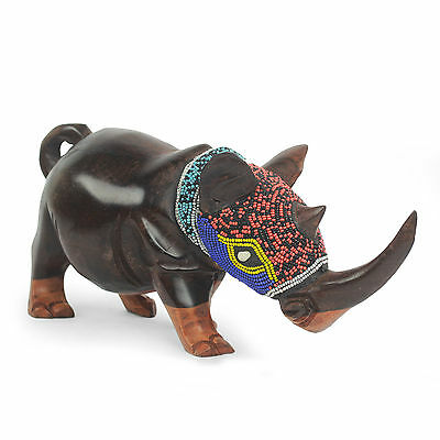 African Beaded Wood Rhinoceros Sculpture Hand Carved 'Proud Rhino' NOVICA Ghana