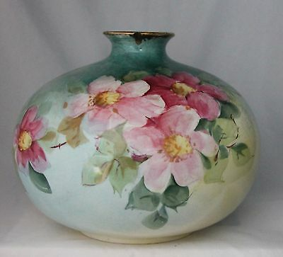 Antique Vintage CURTIS ART STUDIO hand painted floral pink VASE Indiana Ave HTF