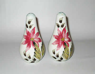 E Radford Pottery Salt Pepper Shakers Pots Pink Flower Hand Painted England FSy