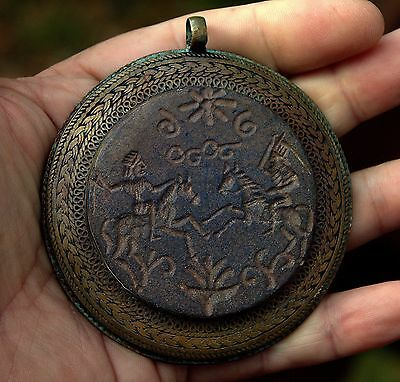 GIANT Very Old Carved Intaglio Lapis Stone TWO WARRIORS FIGHTING Bronze Pendant