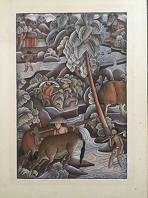 Antique Vintage Balinese Original Painting indonesian Hindu River Workers