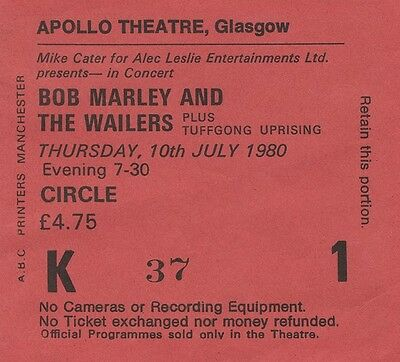 BOB MARLEY & THE WAILERS Concert Ticket - Apollo Theatre, Glasgow 1980 reprint