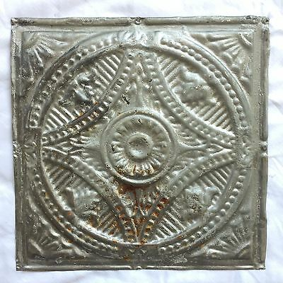 "1890's 12"" x 12"" Antique Tin Ceiling Tile Reclaimed 300-17 Silver Anniversary"