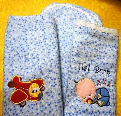 Baby Burp Cloths, Set of 3, Embroidered, New, Soft Flannel
