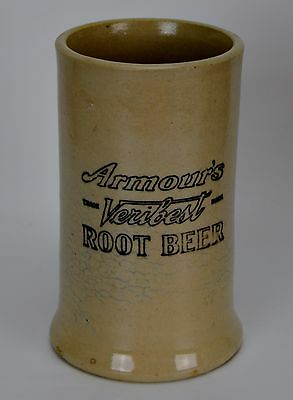 """Early 1900'S Vintage Armour's  Veribest Root Beer Mug Stoneware Pottery 6"""" Tall"""