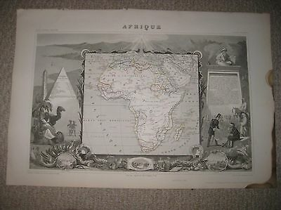 Masterpiece Antique 1854 Africa Levasseur Handcolored Map W Superb Art Vignettes