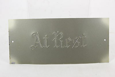 "Casket Plate Vintage Plaque Enameled Steel 'At Rest' 4"" x 9"" Slightly Domed"