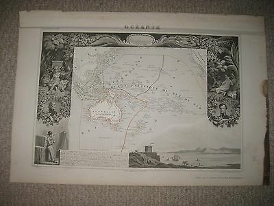 Masterpiece Antique 1854 Oceania Levasseur Map W Art Vignette Australia Hawaii