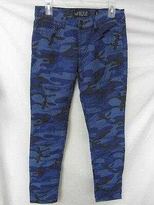 Hot Topic 30x32 Unisex Rude Blue Camo Straight Leg Skinny Jeans YJ 1345