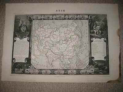 Masterpiece Antique 1854 Asia Levasseur Handcolor Map Art Vignette China India