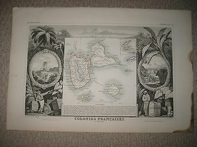 Antique 1854 Saint Martin Guadeloupe Island French West Indies Levasseur Map Nr