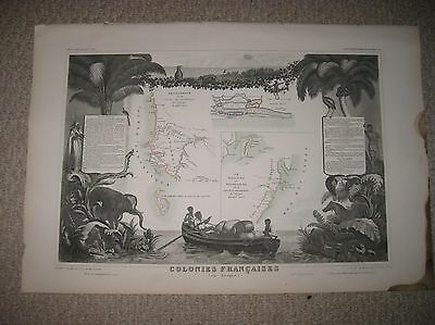Gorgeous Antique 1854 Senegambia Madagascar Africa French Colony Levasseur Map