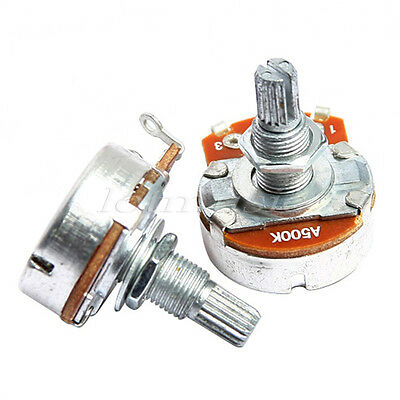 2 Pcs Electric Guitar Potentiometer A500k Full Size 24mm Dome Control Knob