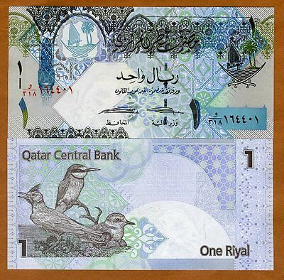 Qatar, 1 Riyal, ND (2008), New 2015 Signature, P-28-New, UNC > Birds