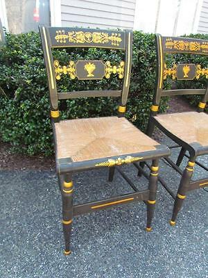 PAIR of ANTIQUE 19c AMERICAN GILT STENCILED HITCHCOCK CHAIRS with CANE SEATS