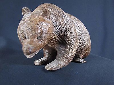Brown-Cinnamon Grizzly Bear Hand Crafted Wood Sculpture