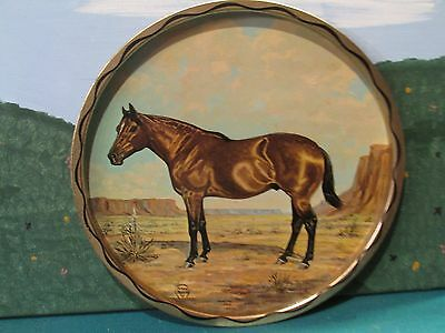 """1966 Metal QUARTER HORSE Plate TRAY by JEANNE MELLIN 10 1/4"""""""