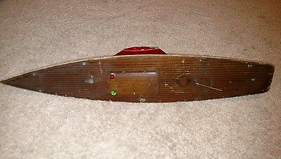 A Rich Toy wooden pond boat yacht hull model sailboat vintage