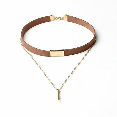 Fashion Women Velvet Choker Necklace Gold Plated Chain Pendant Necklace Jewelry