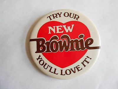 Vintage 1982 Burger King Try Our New Brownie Advertising Pinback Button