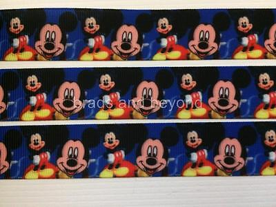 """BB Ribbon MICKEY MOUSE ON BLUE  2m grosgrain 7/8"""" 22mm"""
