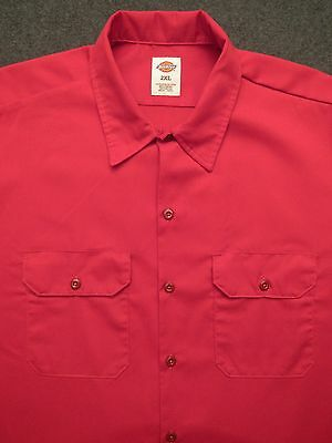 Men's Red DICKIES short sleeve Sturdy Poly / Cotton Work Shirt ~ 2XL
