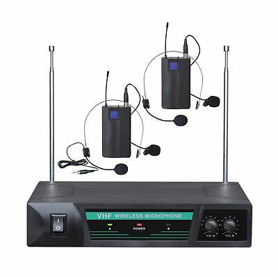 Wireless Headset Microphone Vhf Dual Channel Twin Mic Tjp-Ll52